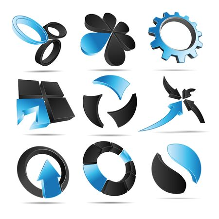 slogan: 3D illustration Logo Forms blue