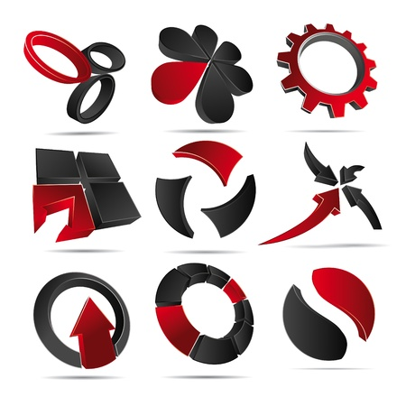 3D illustration Logo Forms red Stock Vector - 12394375