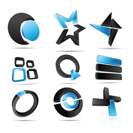 slogan: Logotipo de la ilustración en 3D formas azules Vectores