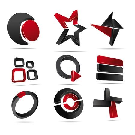 Logotipo de la ilustración en 3D formas rojas