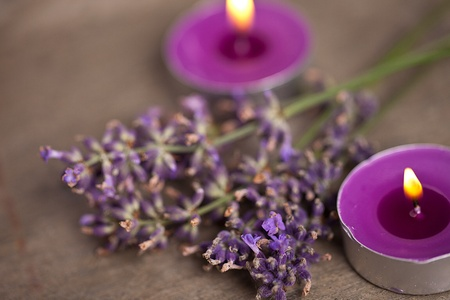 flamme: candel with flamme with lavender Stock Photo