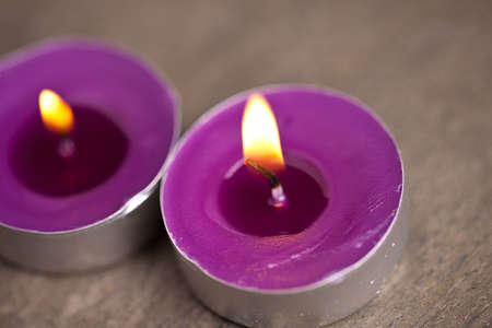 two candel with flamme  photo