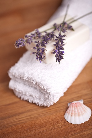 towel with lavender photo