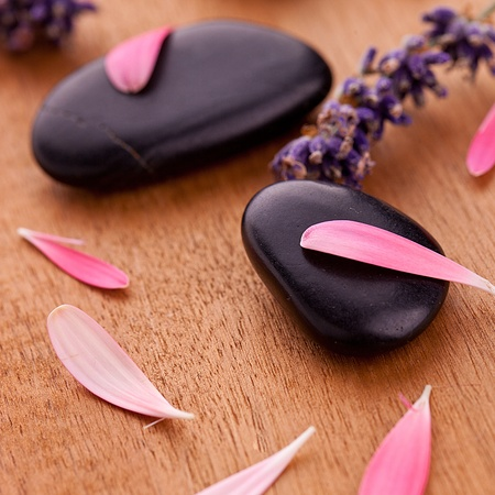 chillout: black stones with leaves and lavender