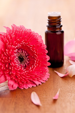 gebera flower and parfum bottle with rose leafs on wooden background photo