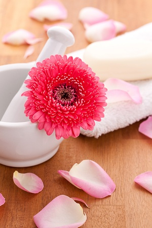 soap with rose leafs on towel and mortar Stock Photo - 12508246