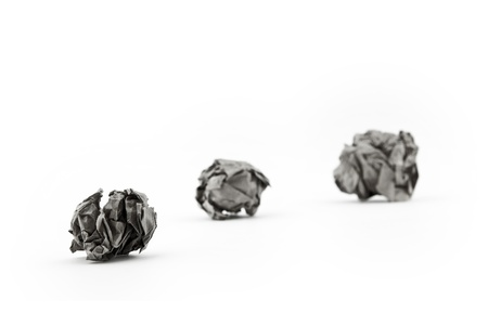 instruction sheet: three Crumpled paper balls on White Background