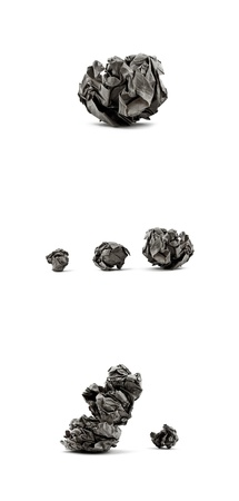 instruction sheet: Crumpled paper balls Collage on White Background