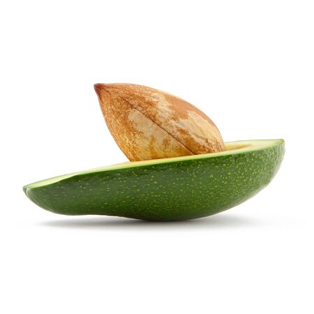 half breed: green avocado fruit with core on white background