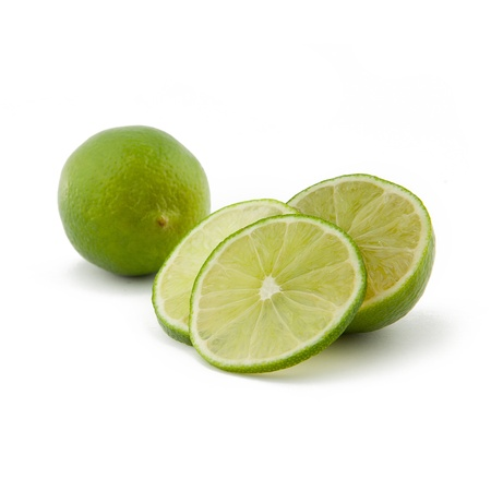 limonene: Green limes Fruit Cocktail on white backgorund Stock Photo