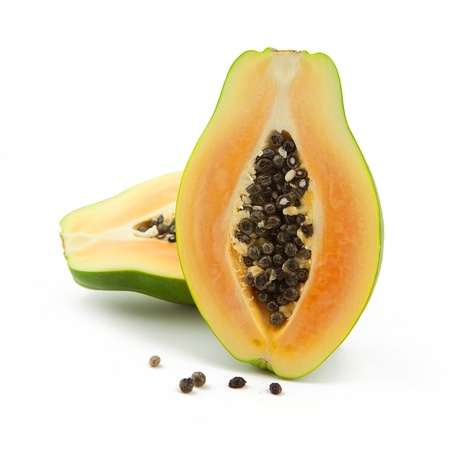 exotic fruits: Green papaya Fruit on white backgorund Stock Photo
