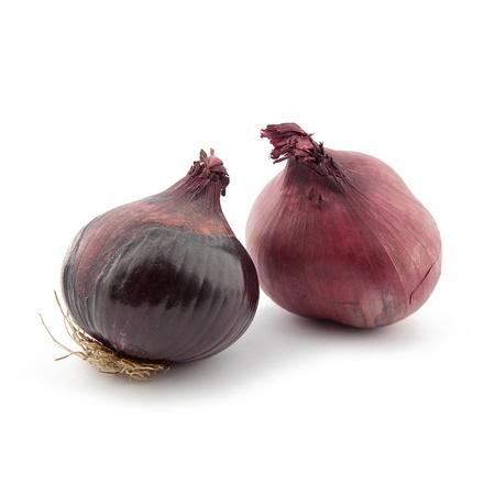 onions: Las cebollas rojas sobre fondo blanco Foto de archivo