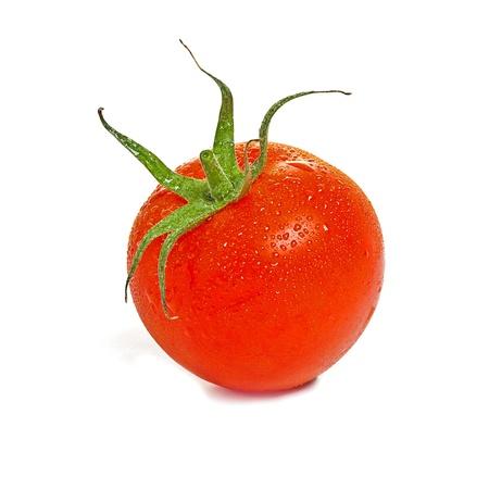 tomatos: Tomato with drops on white background Stock Photo