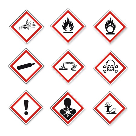 hazardous substances: GHS warning danger sign Vektor set