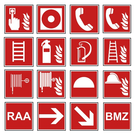 fire extinguishers: Fire safety sign fire fire warning sign set  Illustration