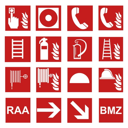 sos: Fire safety sign fire fire warning sign set  Illustration