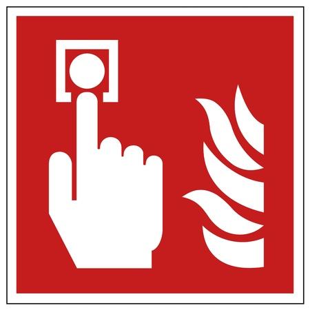 Fire safety sign fire hand alarm detectors warning sign  Illustration