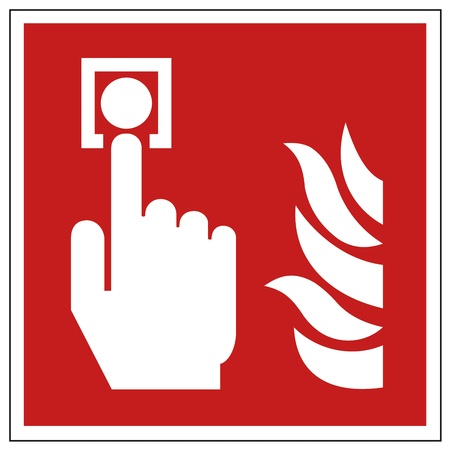 safety sign fire safety signs: Fire safety sign fire hand alarm detectors warning sign  Illustration