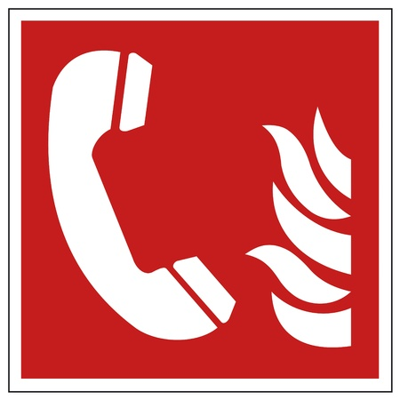 Fire safety sign fire Phone warning sign  Vector
