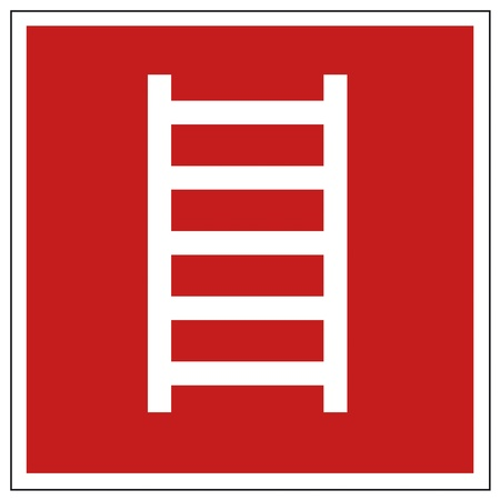 emergency call: Fire safety sign ladder warning sign Illustration