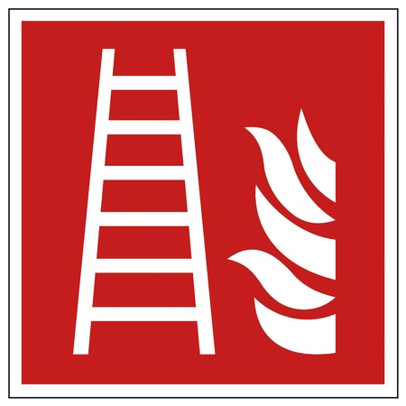 Fire safety sign ladder warning sign Stock Vector - 14312829