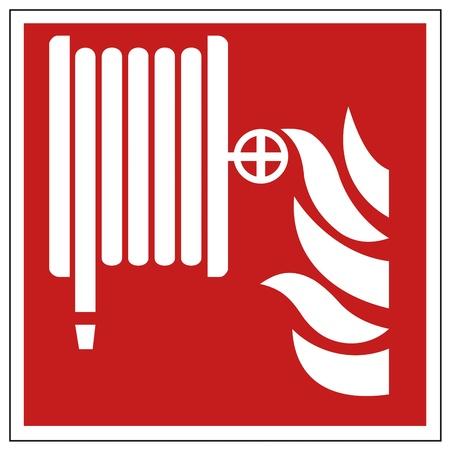 La seguridad contra incendios signo de fuego la manguera de señal de advertencia Ilustración de vector