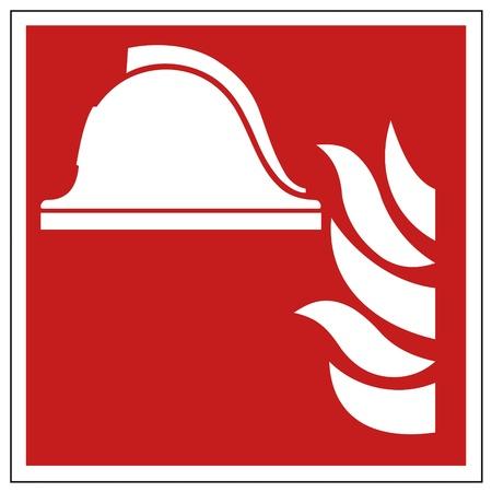 casco rojo: La seguridad contra incendios signo casco señal de advertencia