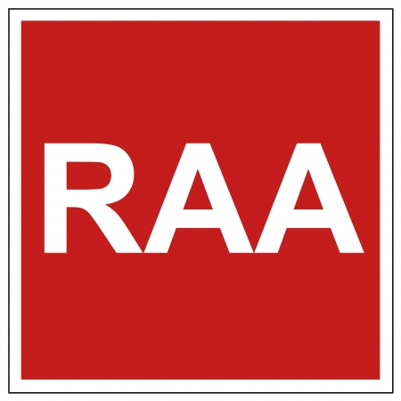 Fire safety sign RAA warning sign
