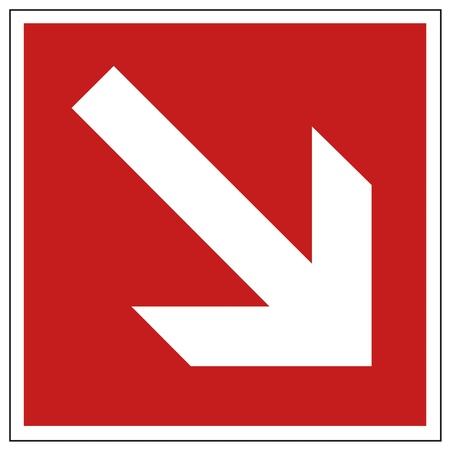 extinguishers: Fire safety sign arrow warning sign  Illustration