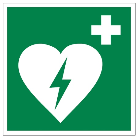 electrical safety: Rescue signs icon defibrillator heart cross