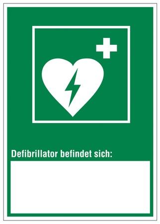 defibrillator: Rescue signs icon defibrillator heart cross