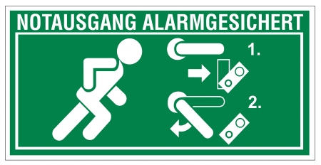 association imagine: Rescue signs icon exit emergency arrow flush away alarm system Illustration