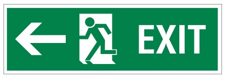 exit emergency sign: Rescue signs icon exit emergency arrow flush away
