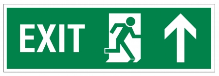 green exit emergency sign: Rescue signs icon exit emergency arrow flush away