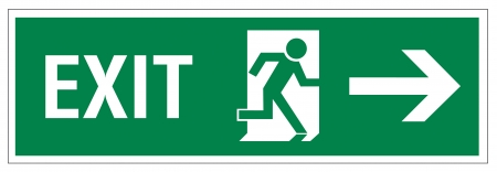exit sign: Rescue signs icon exit emergency arrow flush away