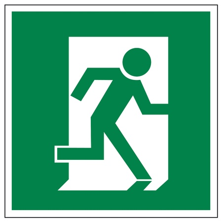 emergency call: Rescue signs icon exit emergency arrow flush away