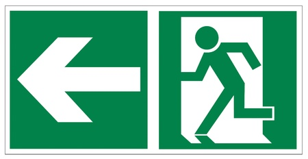 Rescue signs icon exit emergency arrow flush away Stock Vector - 14376940