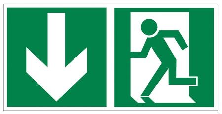 Rescue signs icon exit emergency arrow flush away Vector