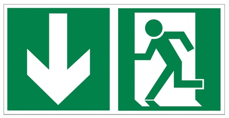 no way out: Rescue signs icon exit emergency arrow flush away