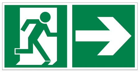 Rescue signs icon exit emergency arrow flush away Stock Vector - 14376941