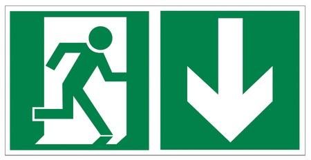 Rescue signs icon exit emergency arrow flush away Vector