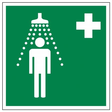 prevencion de accidentes: Rescate de los signos icono de salida de emergencia de la Cruz ducha de emergencia Vectores