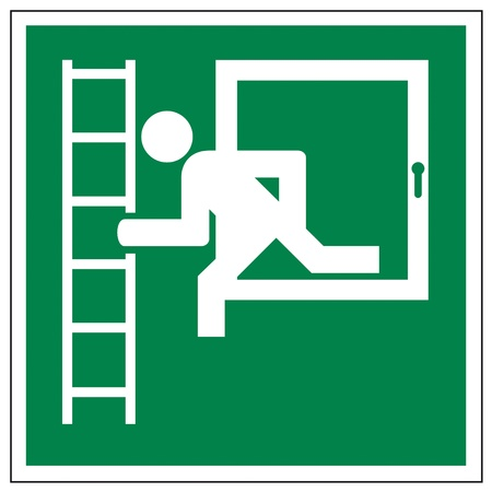 aligned: Rescue signs icon exit emergency ladder Illustration