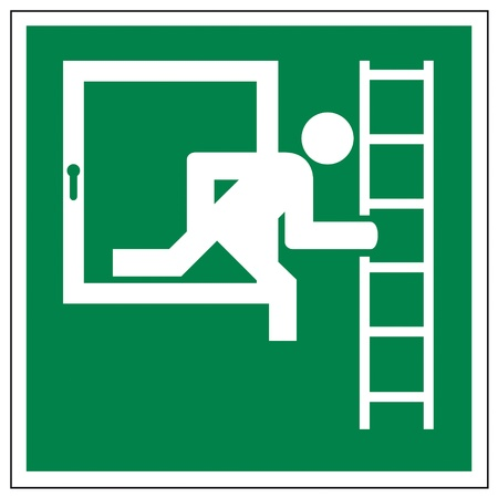 green exit emergency sign: Rescue signs icon exit emergency ladder Illustration