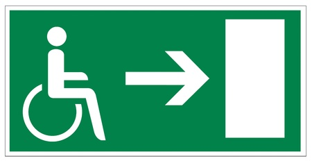 Rescue signs icon exit emergency arrow flush away handicap wheelchair Illustration