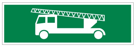 alternatively: Icon segni delle uscite di emergenza scaletta auto dei pompieri Vettoriali