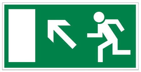 association imagine: Rescue signs icon exit emergency arrow flush away