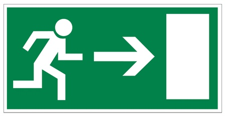 no correr: Signos de rescate salida icono de la flecha de emergencia ras de distancia