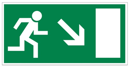 health and safety: Rescue signs icon exit emergency arrow flush away