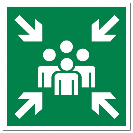 Rescue sign icon exit emergency collecting point arrow